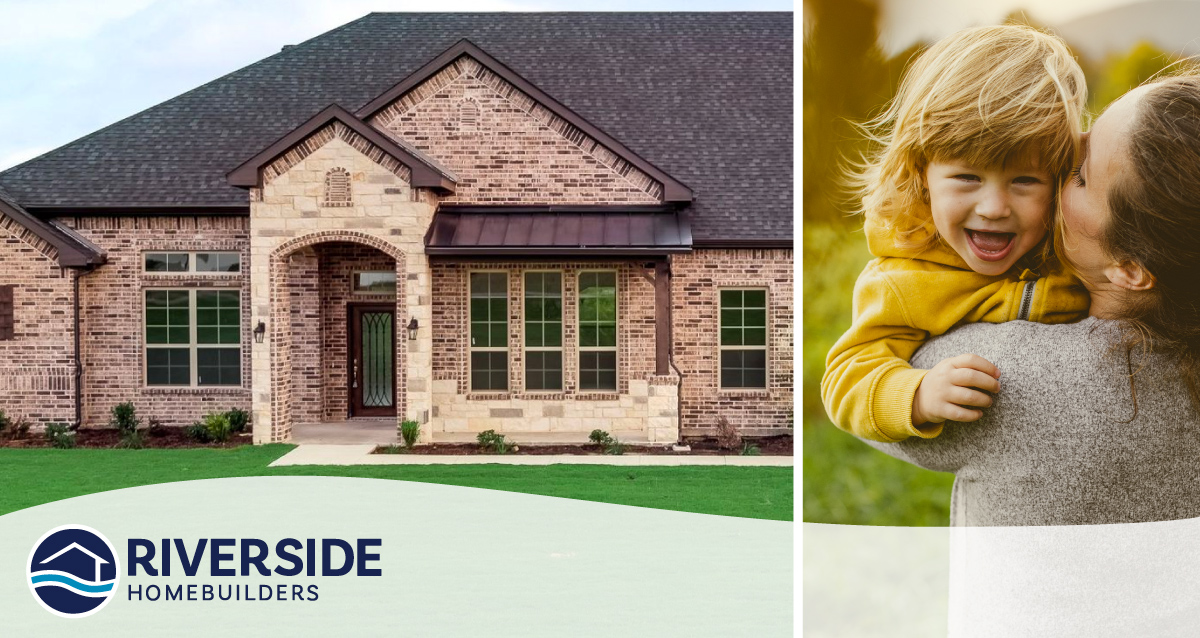 Two image collage. Image on right is front elevation of Harvest Meadows model home. Photo on right is of a mom holding her daughter.