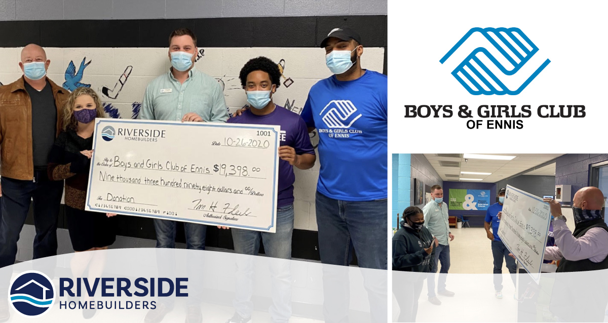Photos of Riverside Homebuilders presenting a check to the Ennis Boys and Girls Club.