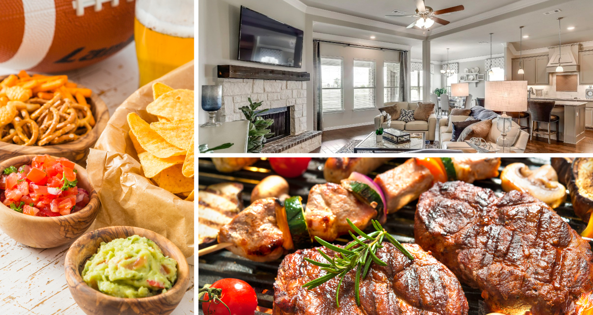 3 photo collage. Photo on left is of chips, salsa, guacamole, and pretzels. Picture on top right is of living room. Photo on bottom right is of steaks on a grill.