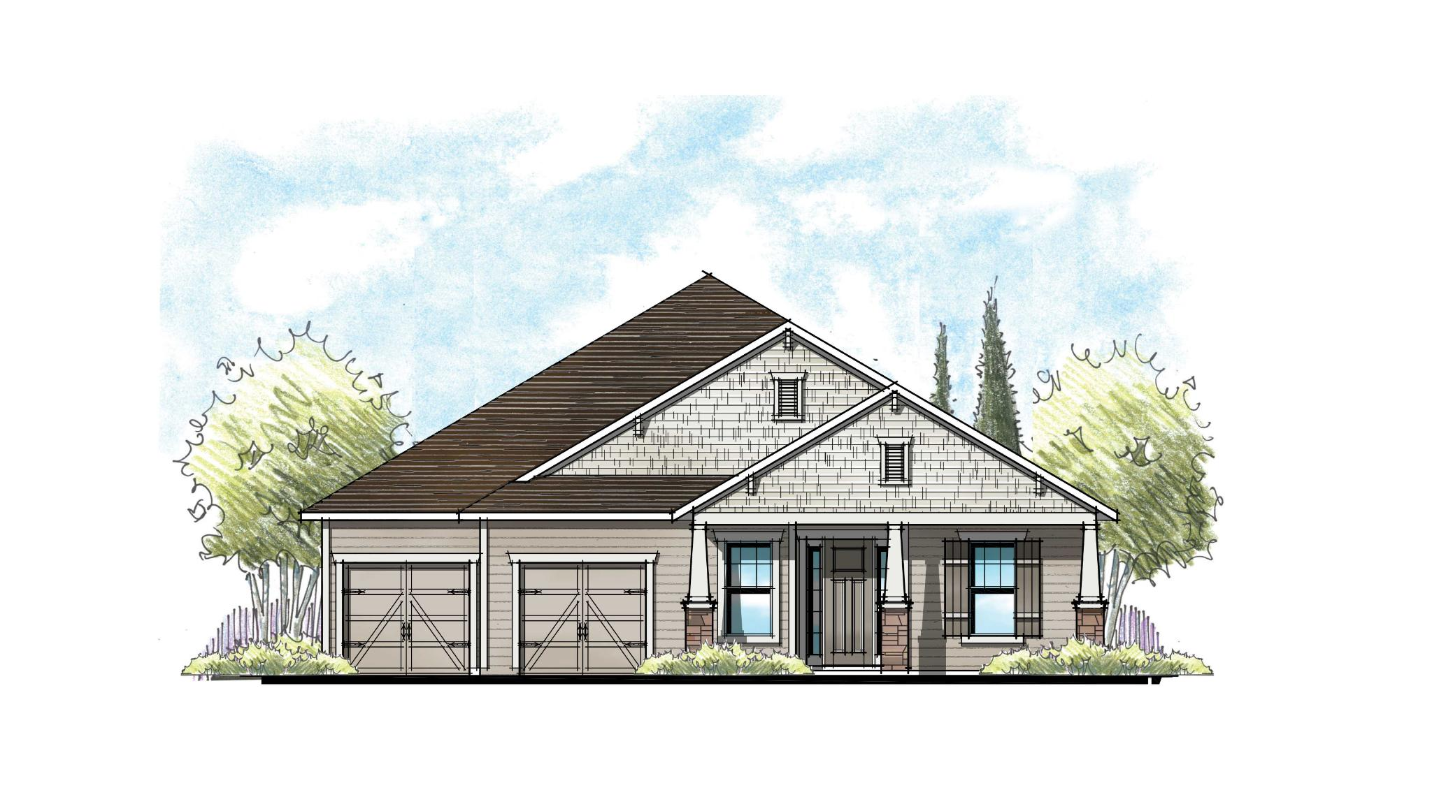 The Magnolia at Crosswater Southern Craftsman Elevation 10