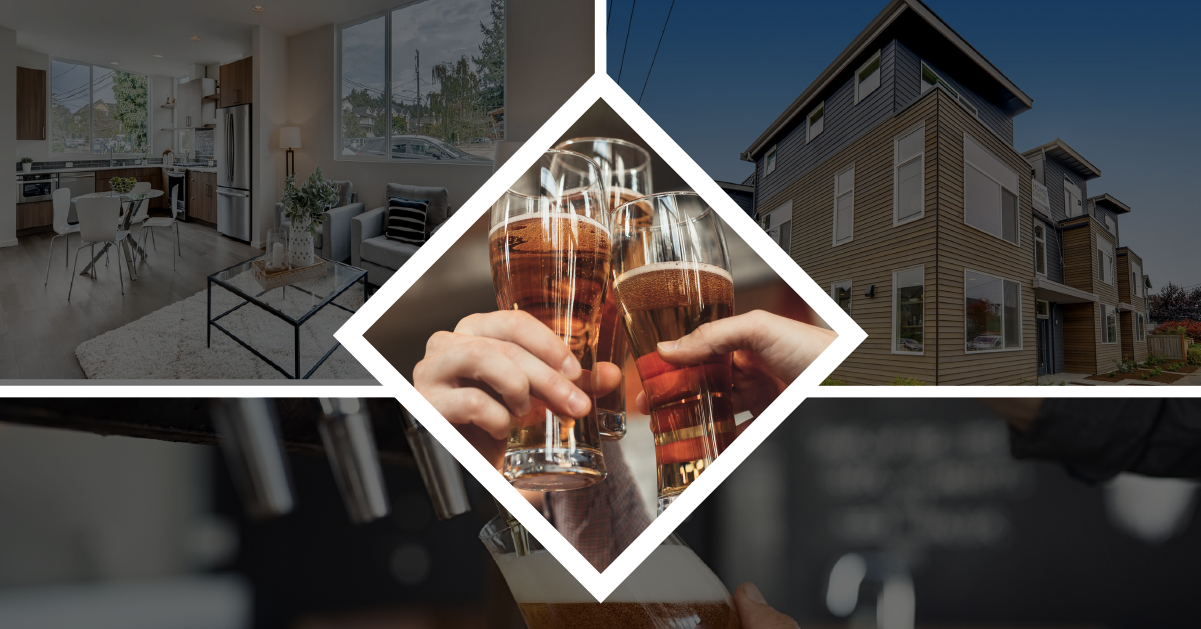 Taste and Tour graphic with people cheering with beer and Sage Homes NW townhome collage photos in background