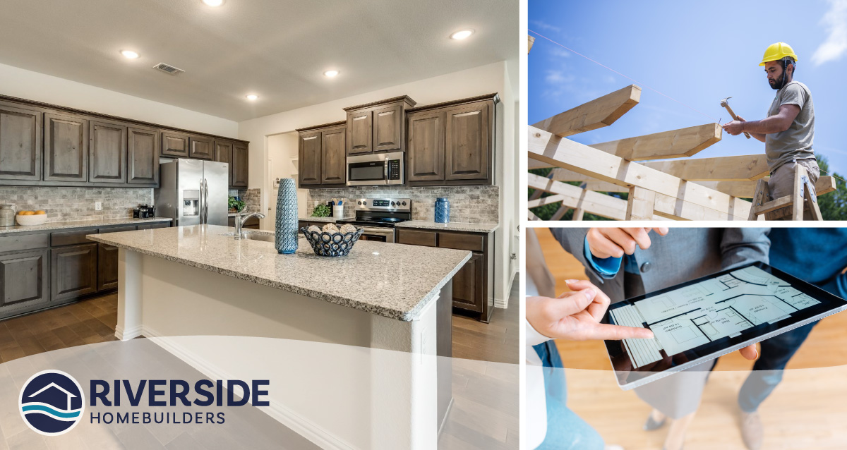 3 image collage. Image on left is of a model home kitchen. Image on top right is of construction worker. Image on bottom right is of person on their tablet.