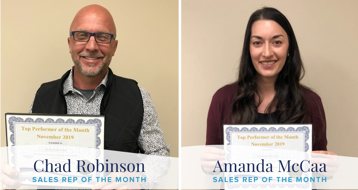 Photo collage of Novembers' sales reps of the month. Chad Robinson is on the left and Amanda McCaa is on the right. Photos are portraits featuring their awards