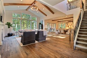 Great Room, Dining Space, Kitchen, Outdoor Living Area and Stairway to Bedrooms