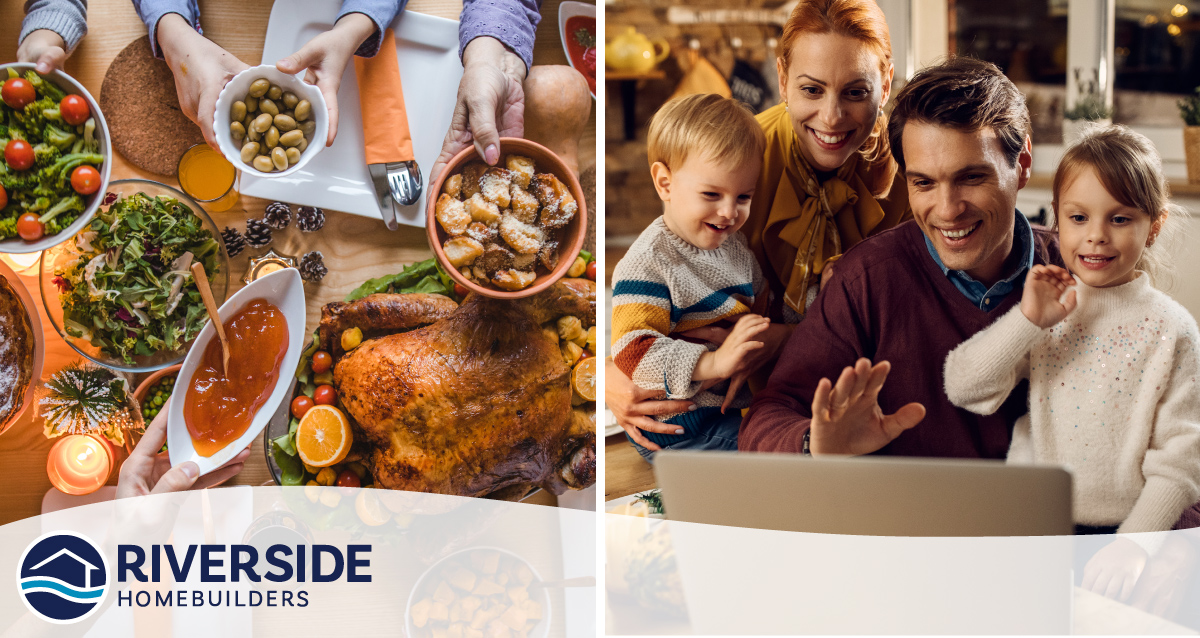 Two photo collage. Photo on left is of Thanksgiving dinner. Shows hands passing around bowls of food. Photo on right is of family waving at laptop while on a video call with family.