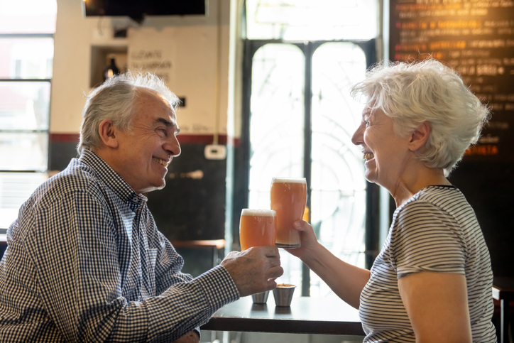 Couple at brewery.
