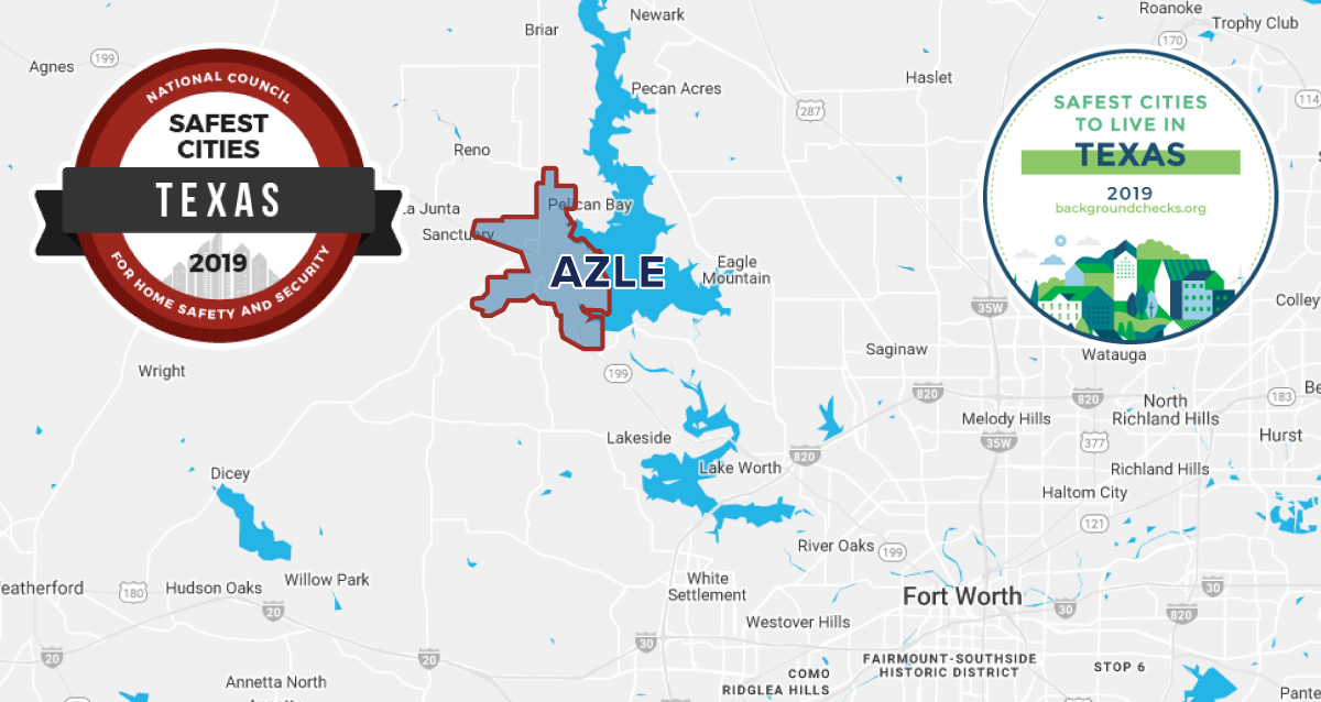 Map outlining Azle, TX with safe cities emblems in the top left and right corners.