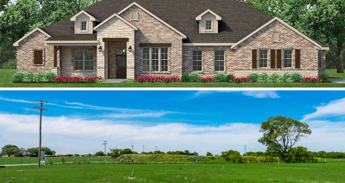 Two photo collage. Photo on top is of rendering of home. Photo on bottom is of land in Godley, TX.
