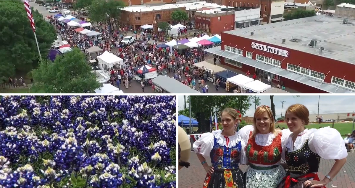 Collage of three photos. A street fair, purple flowers, and Ennis residents