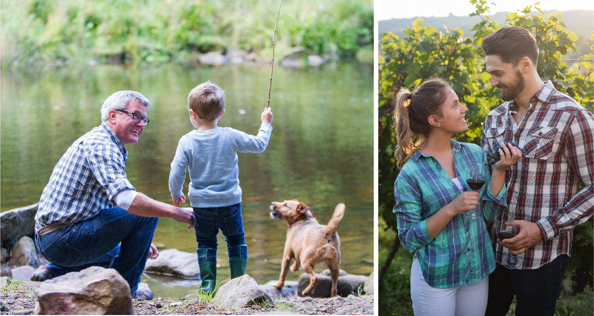 Two photo collage. Photo on left is of a grandparent and his grandson fishing. Photo on right is of couple at vineyard drinking wine.