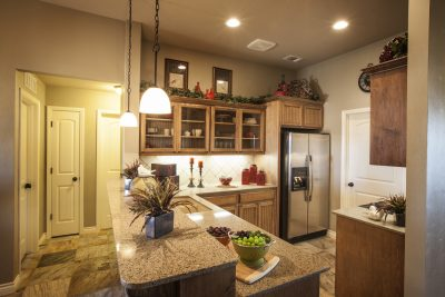 kitchen with granite at bar counter height