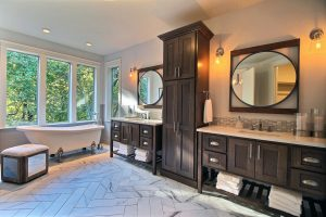 Master Bath - Not Pictured Are Separate Water Closet, XL Walk-In Closet with Wood Shelving and Full-Tile Mud Set Double Shower w/ Glass Door