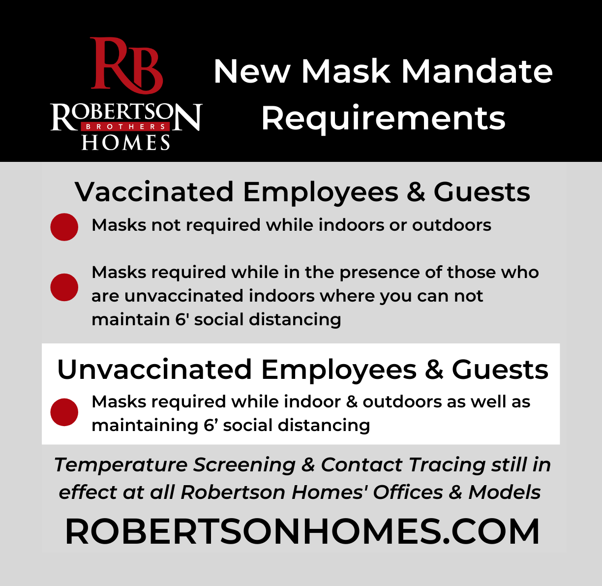 Mask mandate requirements for vaccinated and unvaccinated employees of community development business Robertson Homes in Michigan