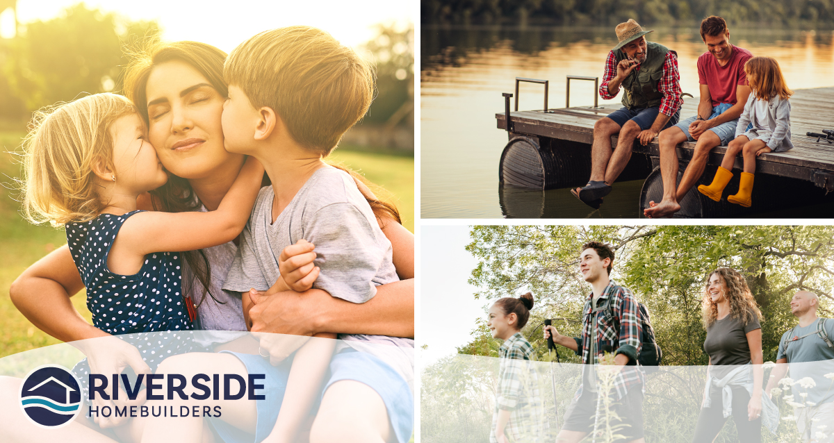 3 image collage. Image on left is of mom hugging her two kids. Image on top right is of a family sitting on the edge of a dock. Image on bottom right is of a group of four people hiking.