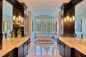 Master Bath - Barrel Vault + Free Standing Tub + Vessel Sinks + Curbless Tile Double Walk-In Shower + Sauna from Finlandia