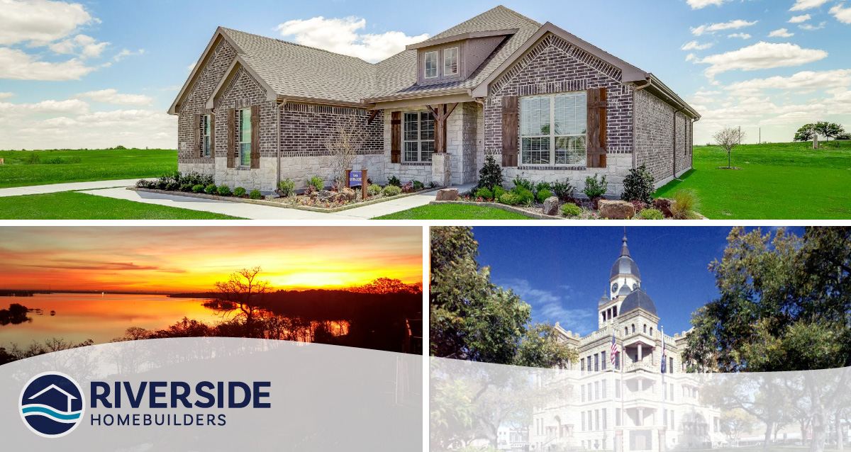 Three image collage. Image on top is of Midway Ridge model home. Image on bottom left is of sun setting on a lake. Image on bottom right is of building in Ponder.