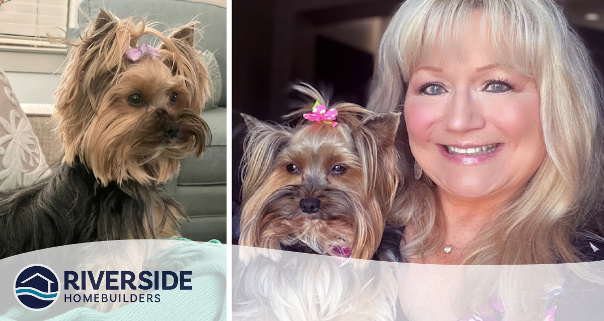 Image of Nancy Palmarchuk with her Yorkie dog, Emery Grace.