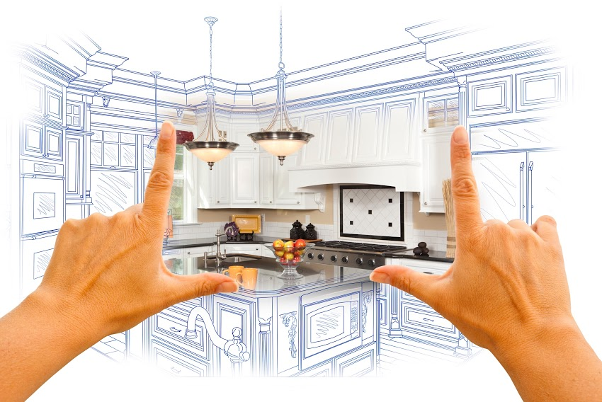 Using hands to visualize a redesigned home kitchen