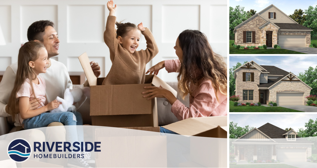 Four photo collage. Image on left is of two parents and their daughters in a living room. One daughter is in moving box. Three photos on right are of three floor plans available in Northstar.