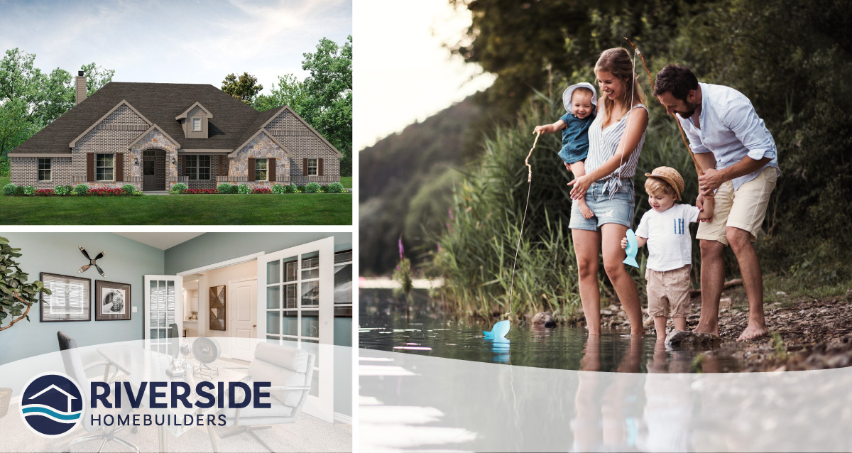 3 image collage. Image on top left is rendering of front elevation. Image on bottom left is of a home office. Image on right is of parents and their 2 kids at the lake.