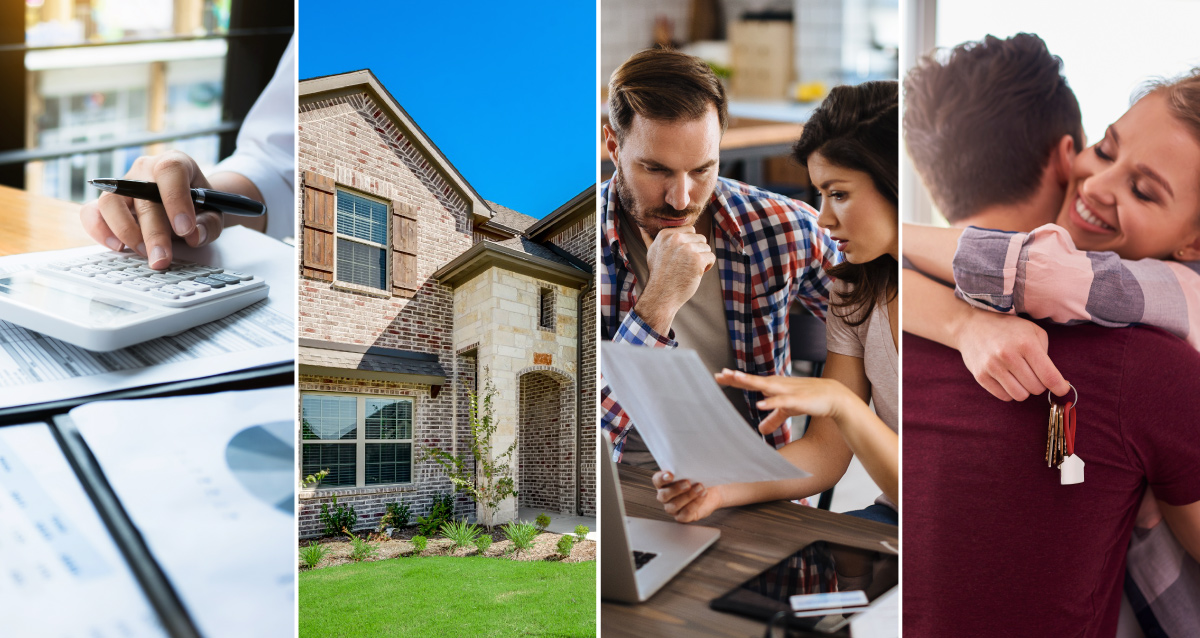 Four photo collage. First photo on far left is of an accountant typing on a calculator. Next photo is of a Riverside 2-story home. Next photo is of a family looking at a piece of paper in front of their laptop. Last photo on far right is of couple hugging while woman holds keys to a new home.