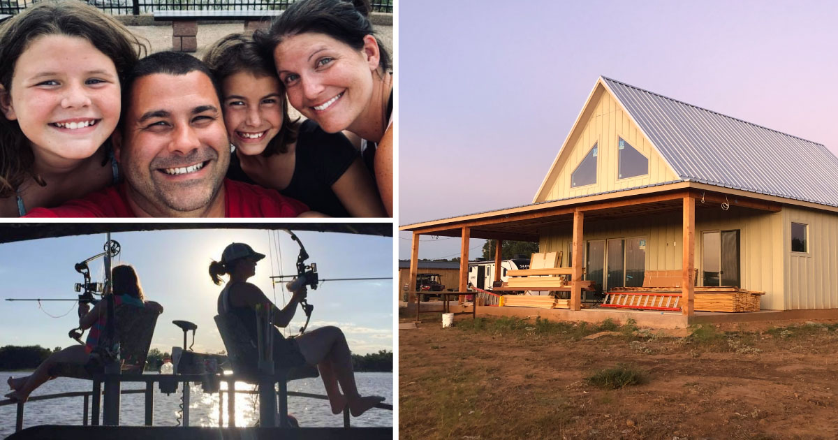 Rachel pictured with family, fishing and her new home