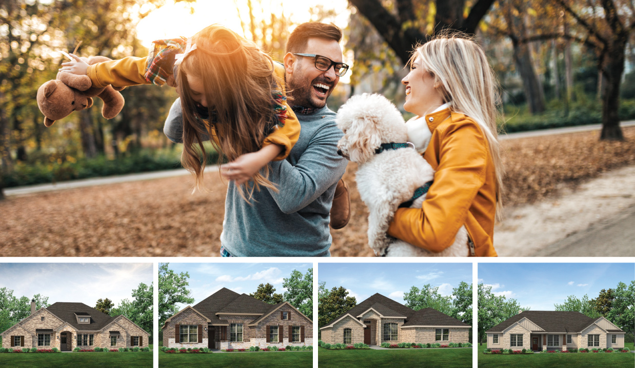 Top photo is of parents holding their daughter and dog on walk. Bottom four photos are of the elevations offered in Wellington Addition.