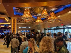 Self-Parking Entryway: Opening Day lines for Momentum Rewards. ilani's member rewards program.