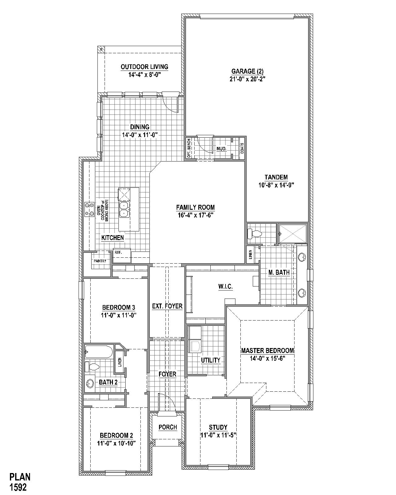 Plan 1592 Floor Plan American Legend Homes