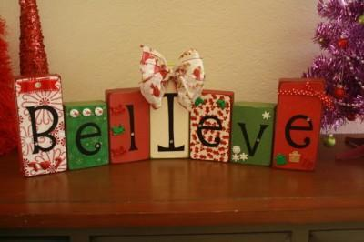 holiday themed wooden blocks
