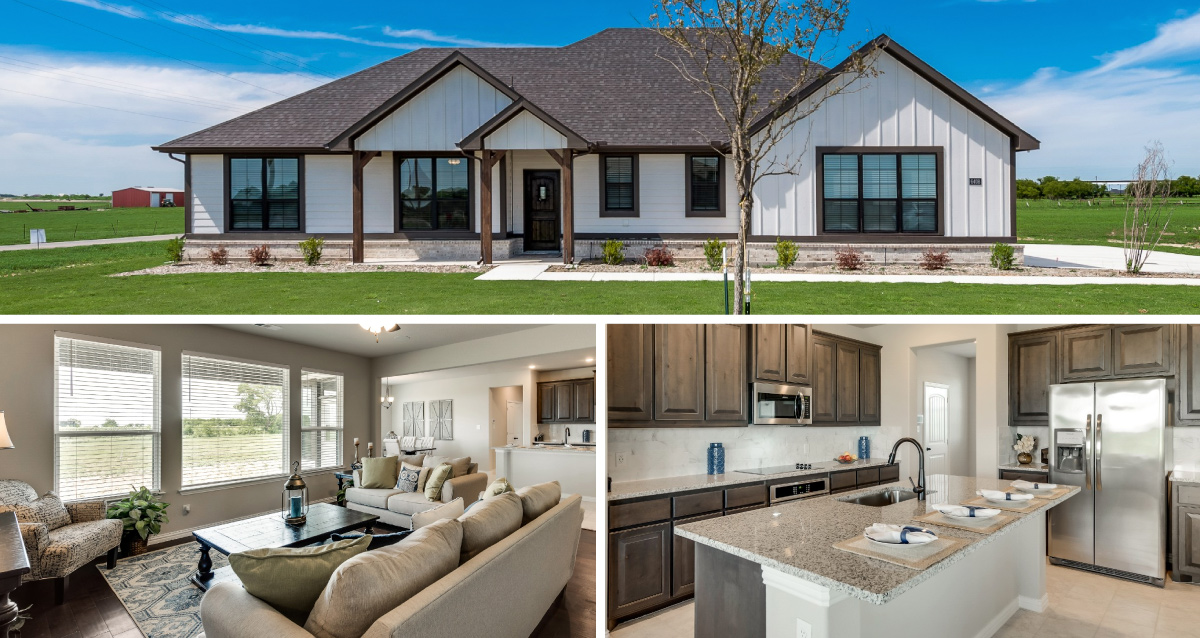 3 photo collage. Top is of front of Rustic Meadows model home. Bottom left is of model home living room. Bottom right is of model home kitchen.