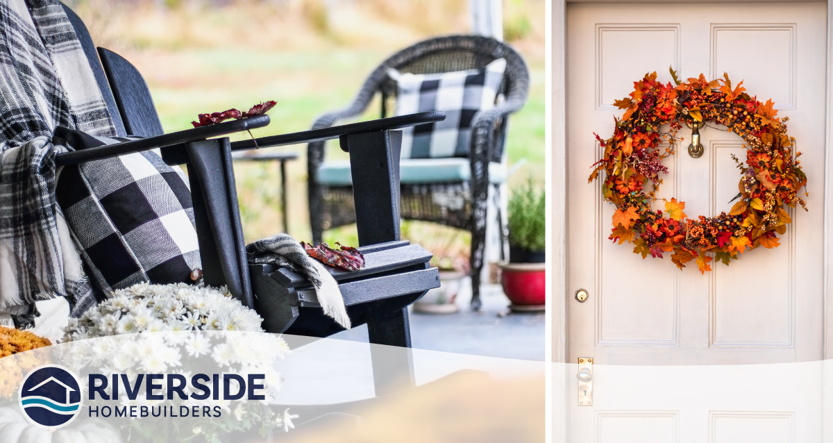 2 image collage. Image on right is of patio chairs with black and white plaid cushions. Image on right is of wreath with fall colored leaves hanging on a white front door.