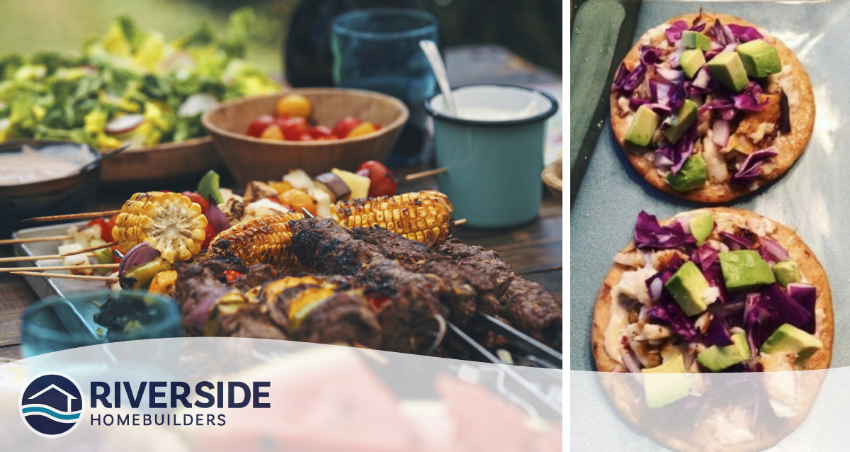 Two image collage. The photo on the left is of a tray of barbecued food. The food photo on the right is of tacos.