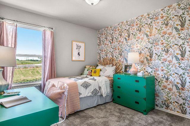 Dawson Bedroom, Girls Bedroom, Floral Wallpaper, Teal Dresser