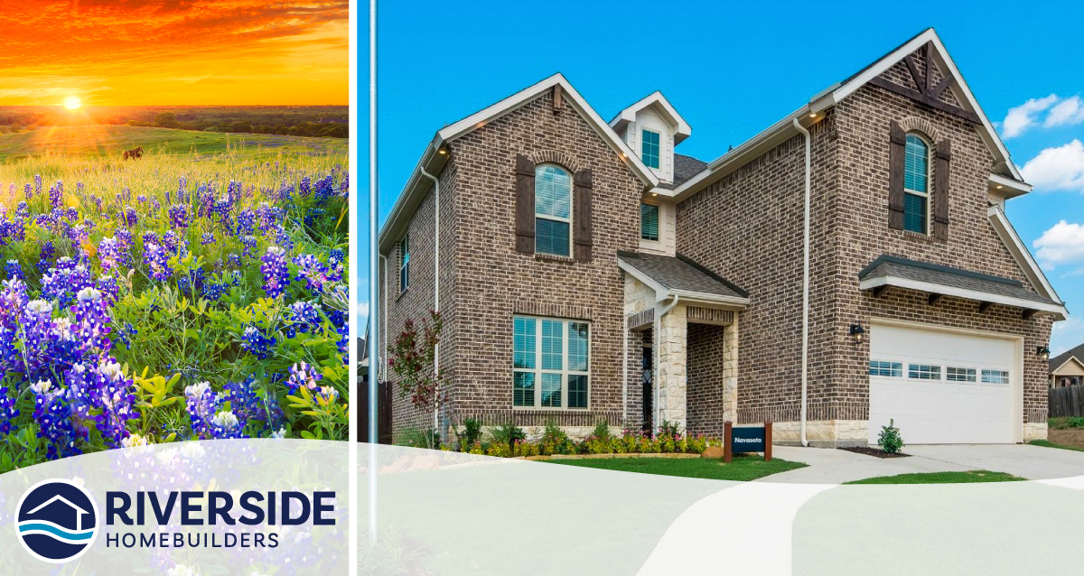 Two photo collage. Photo on left is of flowers in a field while the sun sets. Photo on right is of the Sleepy Hollow Manor model home exterior.