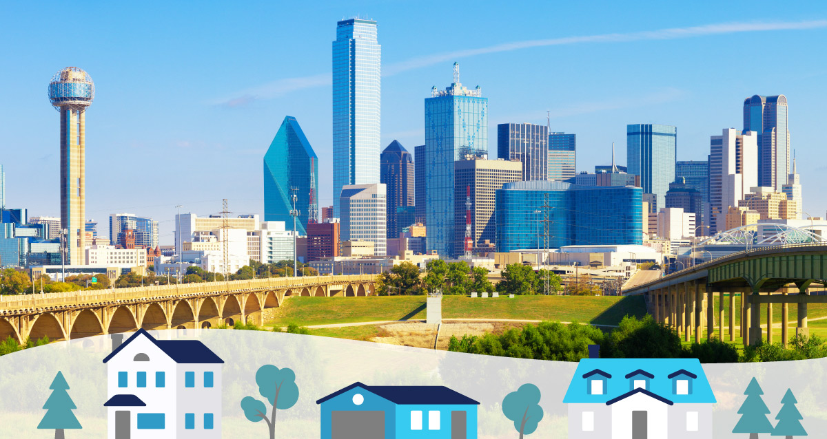 Dallas skyline with three homes on the bottom of the image.