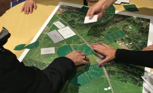 Ridgefield residents rearrange fields and buildings on an interactive map of a proposed outdoor recreation complex Thursday night in 2015.