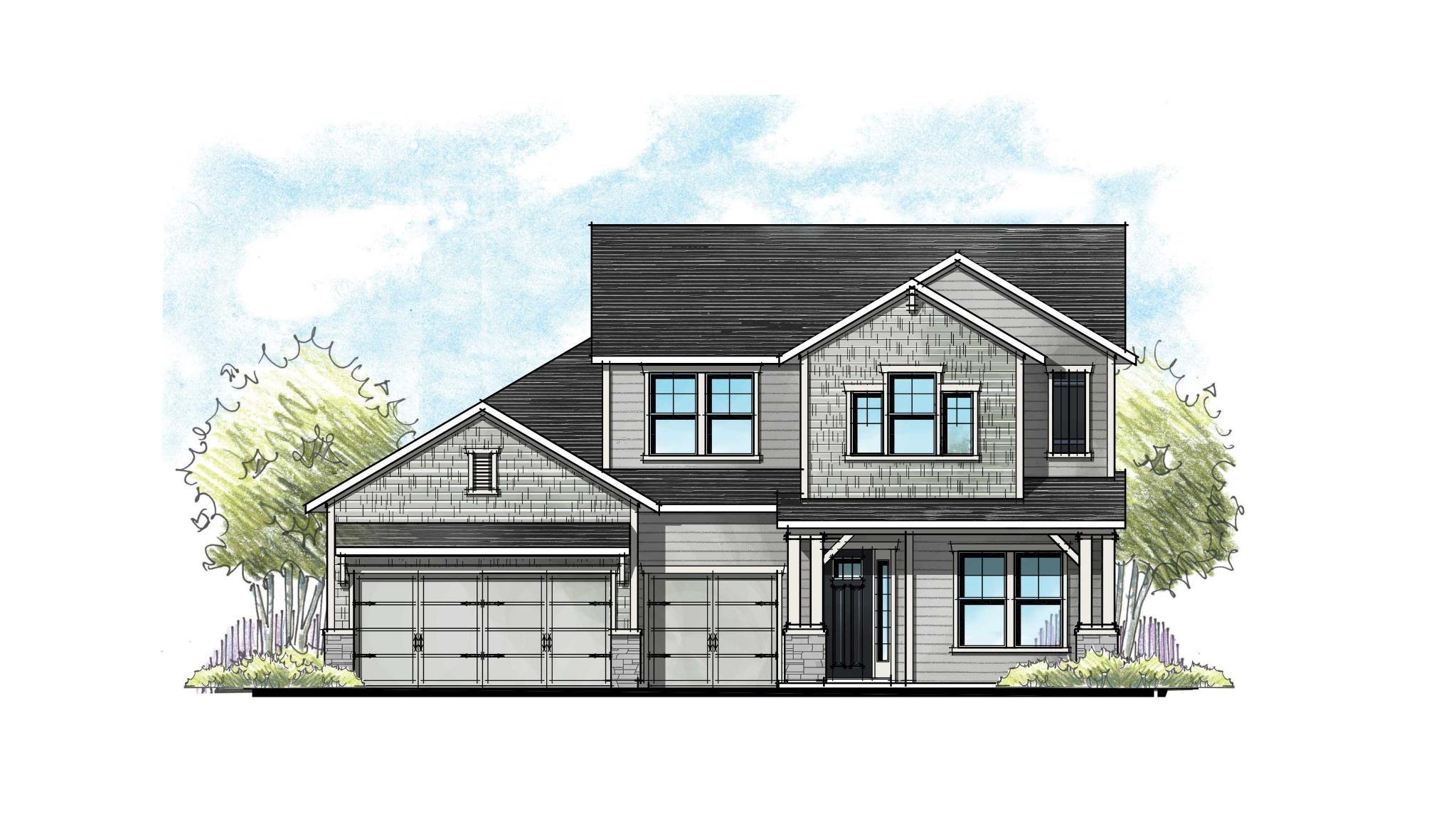 The Lafayette Urban Rustic Elevation 4  3-Car Garage