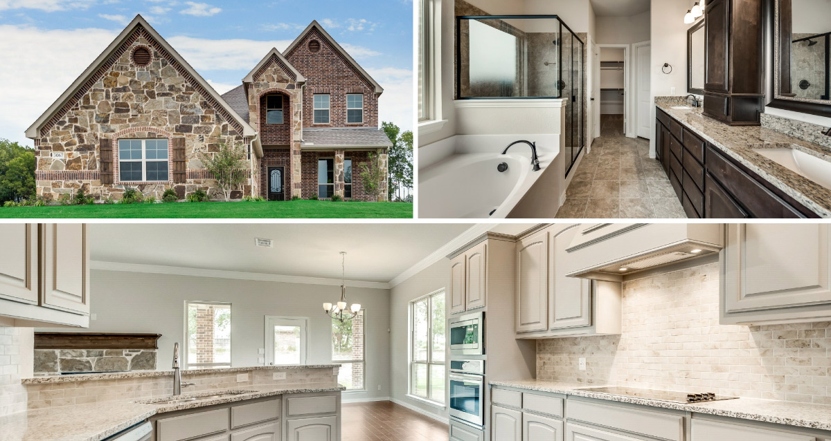 Collage of exterior of home, master bathroom and kitchen