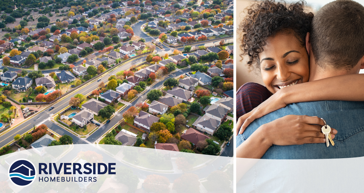 Two image collage. Photo on left is of aerial shot of a few neighborhoods. Photo on left is of woman hugging her significant other.