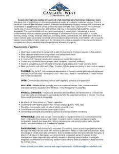 Warranty Tech - Job Role