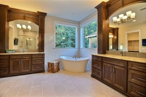 Master Bath with Separate Twin Vanities, Freestanding Tub, Glass and Tile Walk-In Mud Set Shower and Separate Water Closet