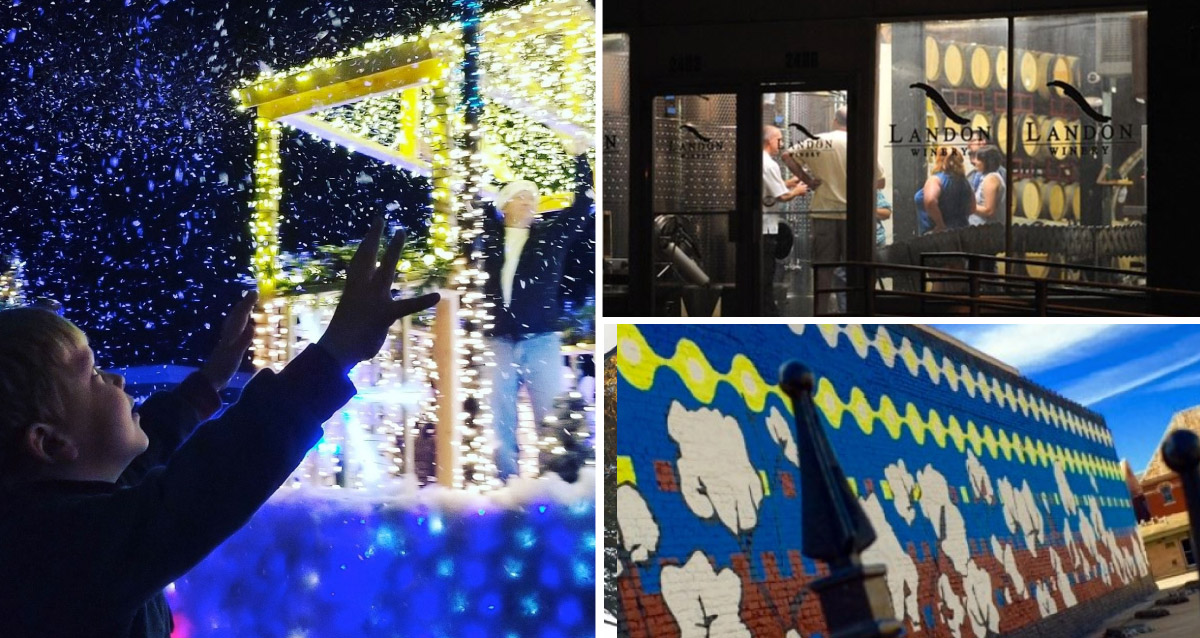 Collage of photos of Greenville. Includes Christmas lights, winery, and mural