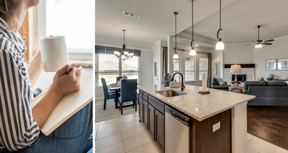Two photo collage. Photo on left is of woman drinking coffee and journaling while looking out of a window. Photo on right is of kitchen in Canyon Ridge model home.