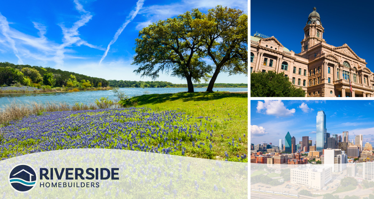 Three image collage. Image on left is of body of water surrounded by trees. Image on top right is of building in DFW. Image on bottom right is of skyline.