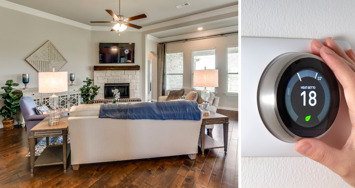 Two photo collage. Photo on left is of living room in model home. Photo on right is of a hand adjusting the thermostat.