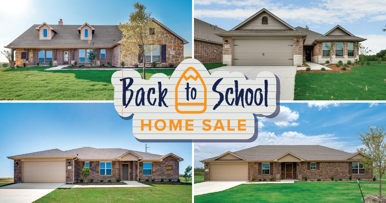 Riverside Homebuilders Back-to-School Home Sale Graphic with four homes in a collage format