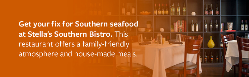 Get your fix for Southern seafood at Stella's Southern Bistro. This restaurant offers a family-friendly atmosphere and house-made meals.