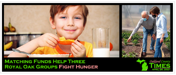 Child eating fruit and a couple gardening, showing Royal Oak Groups initiatives supported by custom homebuilders Robertson Homes in Michigan