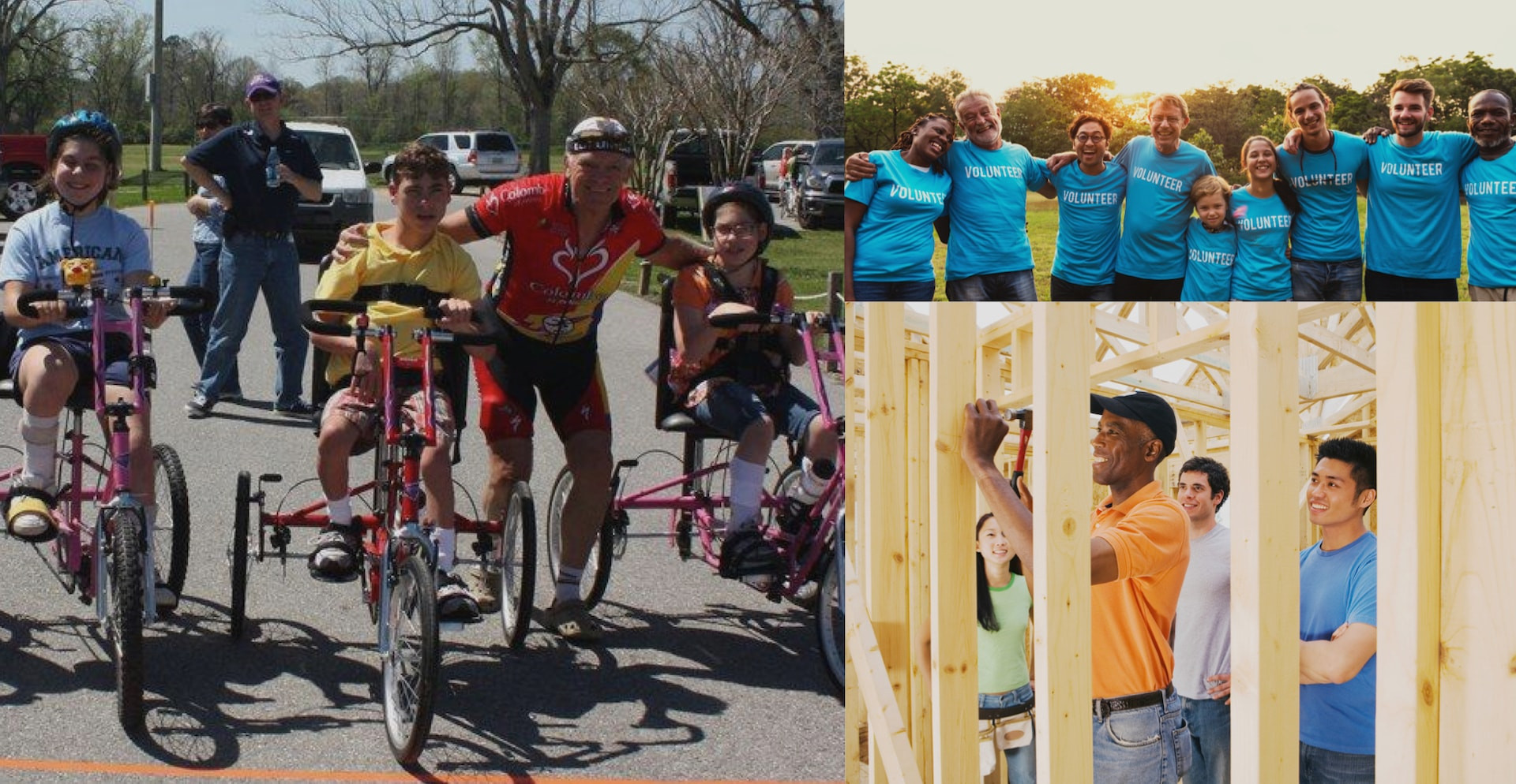 photo collage depicting volunteers building a house and riding bikes with children with special needs
